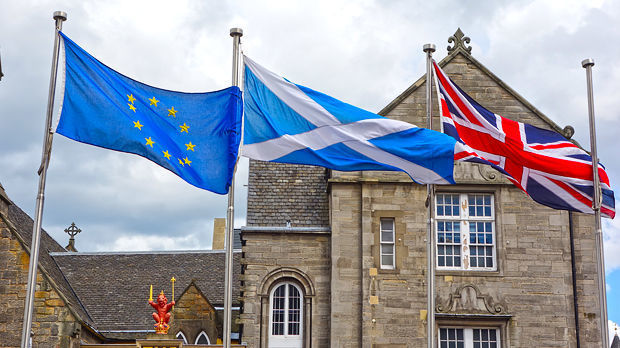 Flags of the European Union, Scotland, and United Kingdom, Edinburgh, Scotland