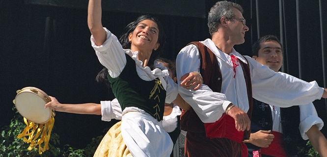 Folk dancers, Barcelona, Spain
