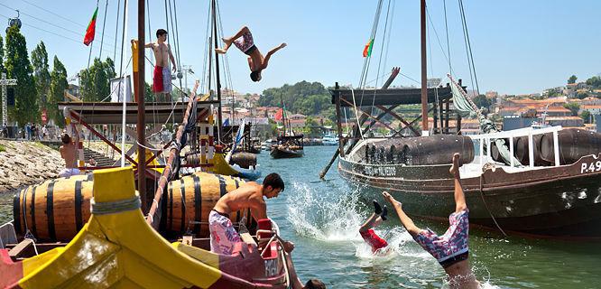 Swimmers along Cais da Ribeira, Porto, Portugal