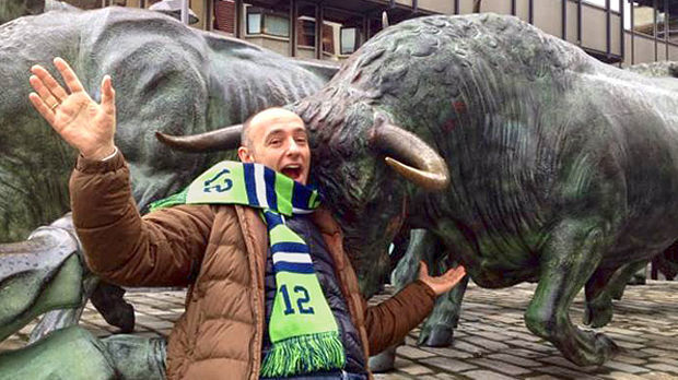 Seahawks fan at the Running of the Bulls Monument, Pamplona, Spain