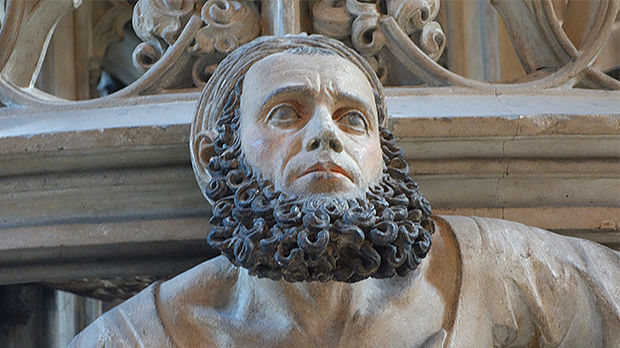 Sculptor's self-portrait, pulpit of St. Lawrence Church, Nürnberg, Germany