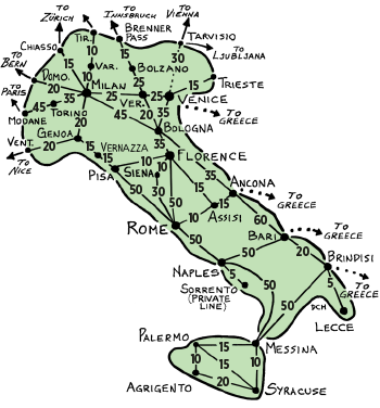 Train Travel In Italy Map.Travel In Reality Italy Rail Distance Costs