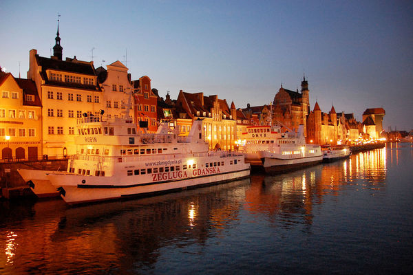 Riverfront and excursion boats, Gdańsk, Poland