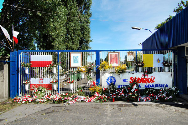 Solidarity memorial at shipyard gate, Gdańsk, Poland