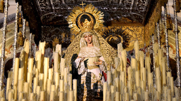 Virgin Mary float for Semana Santa parade, Sevilla, Spain
