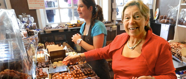 Mme Dumon and daughter in Dumon chocolate shop, Bruges, Belgium