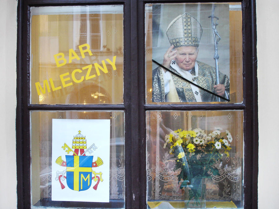 Milk bar honoring Pope John Paul II in Kraków, Poland