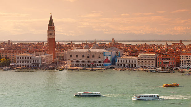 Doge's Palace and Campanile as seen from San Giorgio Maggiore church tower, Venice, Italy