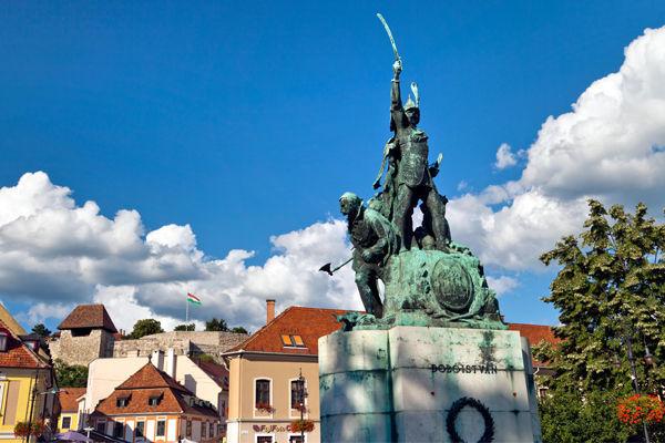 István Dobó statue in Dobó Square, Eger, Hungary