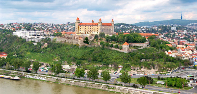 Bratislava Castle as seen from SNP Bridge, Bratislava, Slovakia
