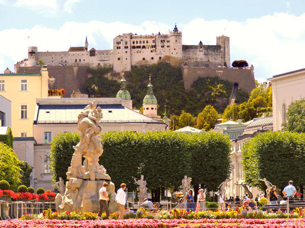 Hohensalzburg Fortress as seen from Mirabell Gardens, Salzburg, Austria