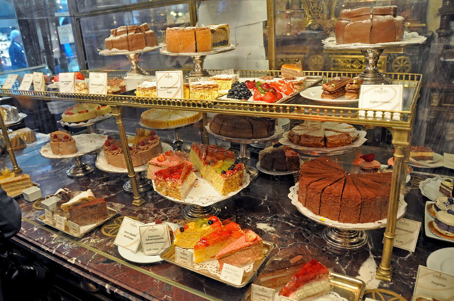 Cake selection at Demel shop, Vienna, Austria
