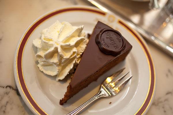Slice of Sacher torte, Hotel Sacher, Vienna, Austria