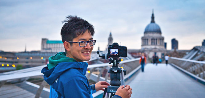 Photographing St. Paul's from the Millennium Bridge, London, England