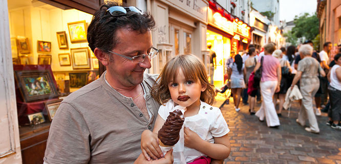Ice cream fans in Montmartre neighborhood, Paris, France