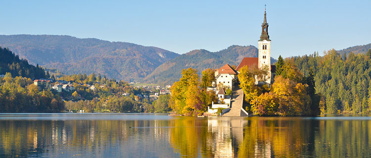 Autumn colors in Lake Bled, Slovenia