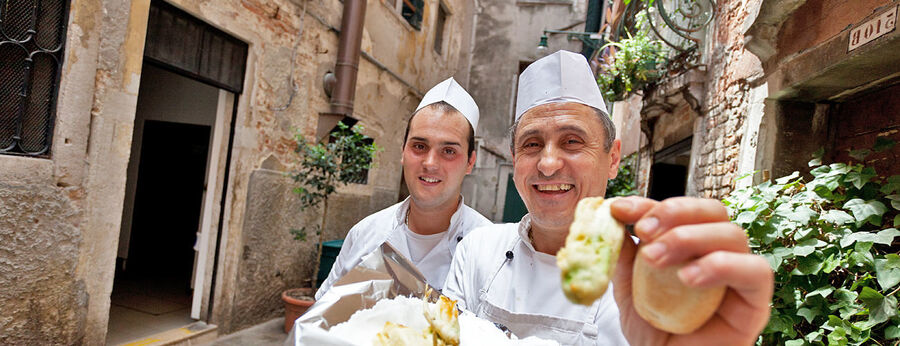 Proud chefs, Venice, Italy