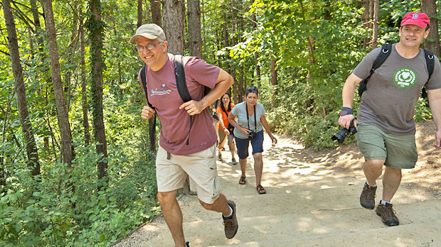 Hikers in Plitvice Lakes National Park, Croatia