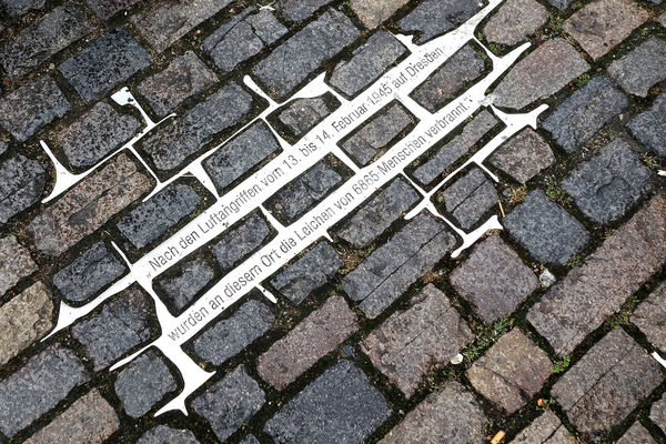 Firebombing commemoration in Altmarkt cobblestones, Dresden, Germany