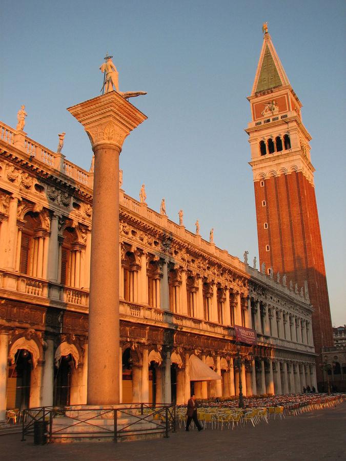 Biblioteca Marciana, San Teodoro Column, and St. Mark's Square Campanile, Venice, Italy