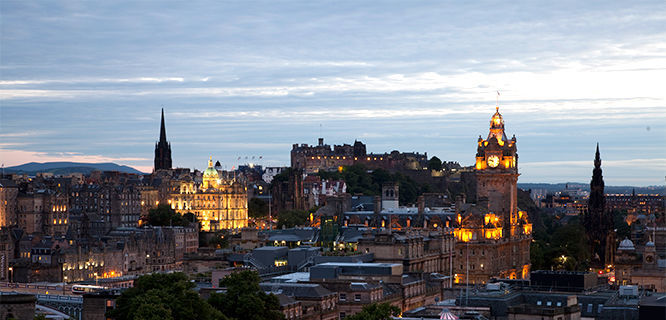 Dusk in Edinburgh, Scotland