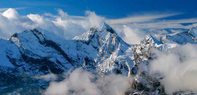 Berner Oberland peaks as seen from atop the Schilthorn, Switzerland