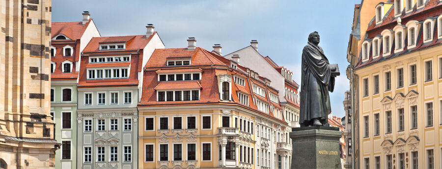 Luther statue in Neumarkt, Dresden, Germany