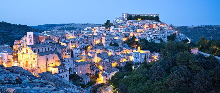 Ragusa at dusk, Sicily, Italy