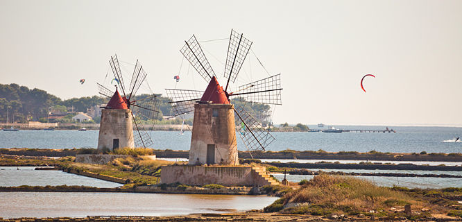 Windmills in Trapani, Sicily, Italy