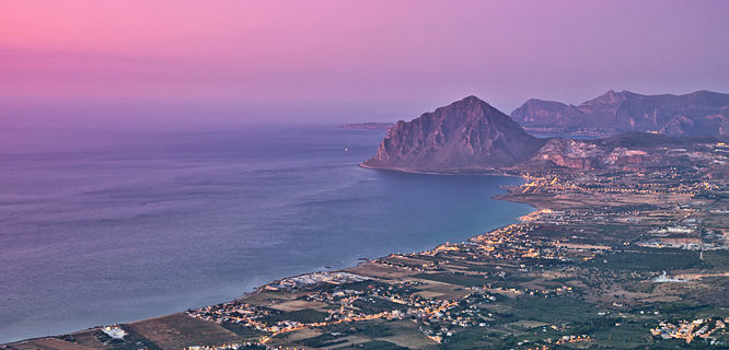 Sunset view from Erice, Sicily, Italy