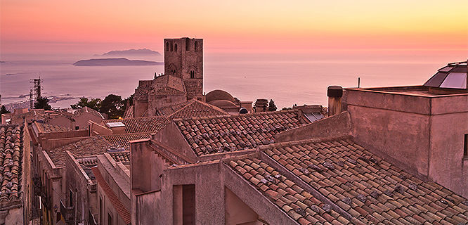 Rooftops of Erice at sunset, Sicily, Italy
