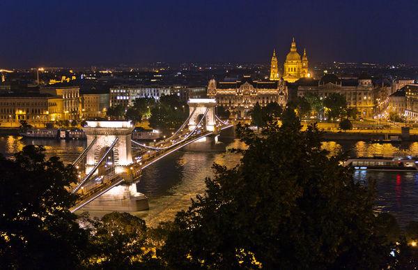 Chain Bridge and St. István's Basilica, Budapest, Hungary