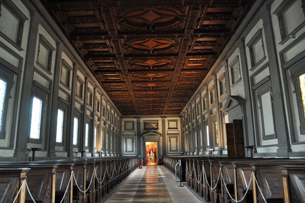 Reading Room in Laurentian Medici Library, Florence, Italy