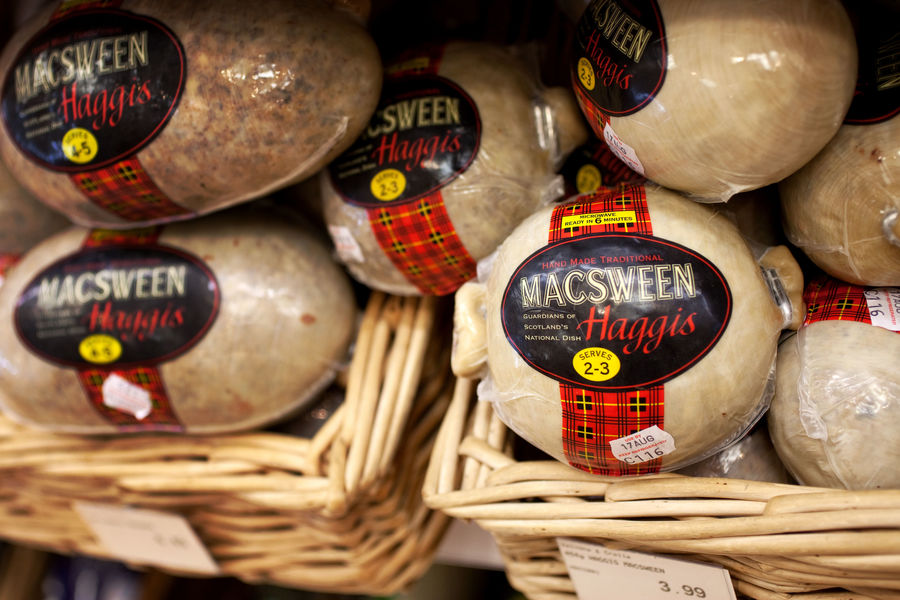Haggis for sale, Edinburgh, Scotland