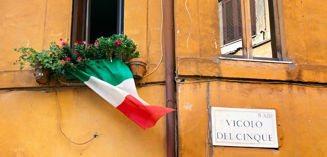 Italian pride in Trastevere neighborhood, Rome, Italy