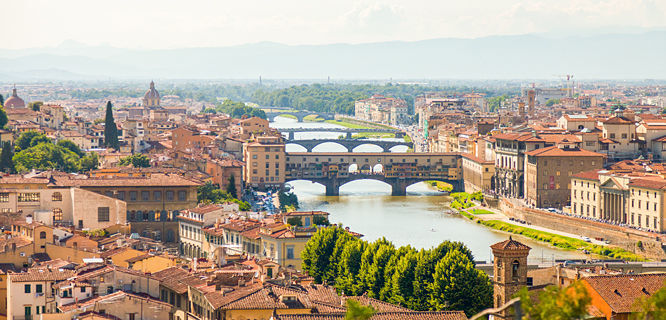 Ponte Vecchio as seen from Piazzale Michelangelo, Florence, Italy