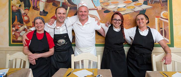Restaurant crew, Lucca, Italy