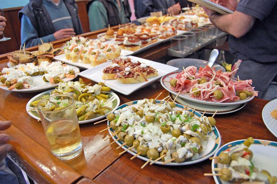 Tapas bar platters, San Sebastián, Spain