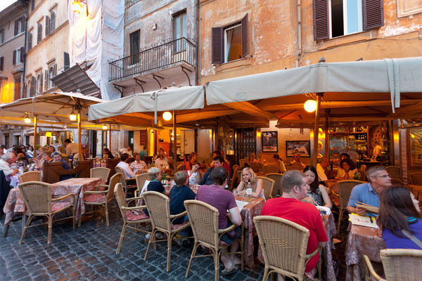 Dinner on the piazza, Rome, Italy