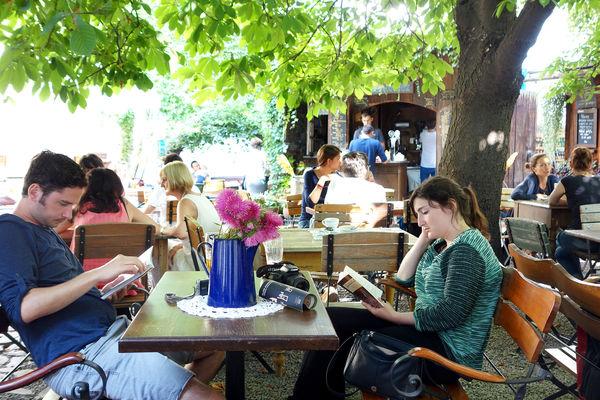 Café in Kazimierz district, Kraków, Poland