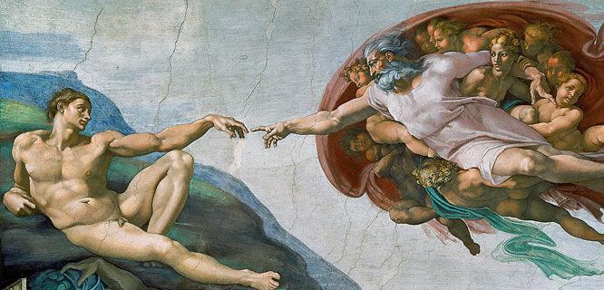'Creation of Adam' (Michelangelo), Sistine Chapel, Vatican Museums, Vatican City, Rome, Italy