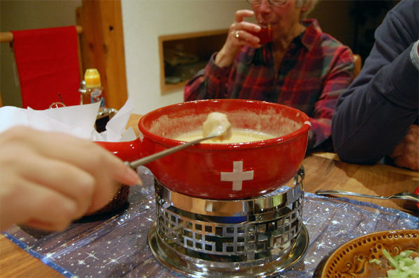 Fondue at home, Gimmelwald, Switzerland