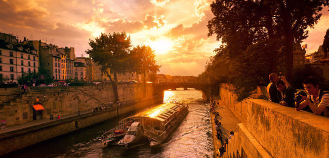 Seine river cruise at sunset, Paris, France