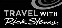 Travel with Rick Steves logo, black and white