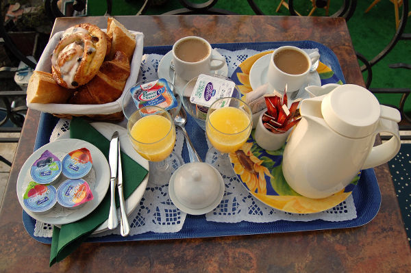Hotel-balcony breakfast, Villefranche-sur-Mer, France