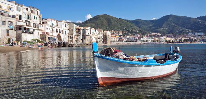 Cefalù beachfront, Sicily, Italy