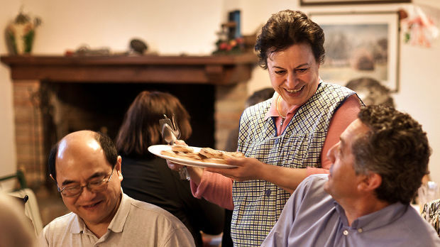 Trattoria dinner, Montone, Italy