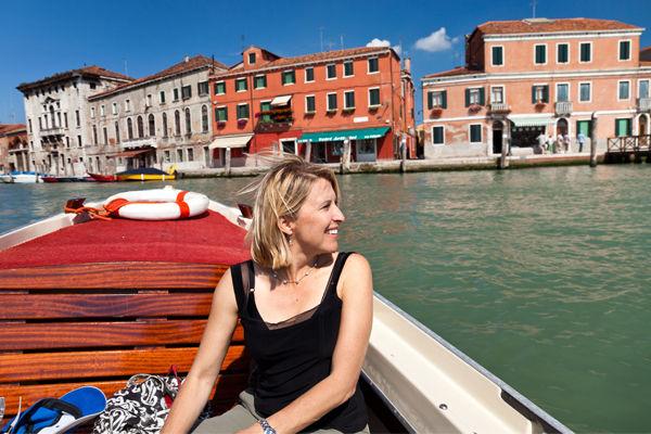 Water taxi ride to Murano, Venetian lagoon, Italy