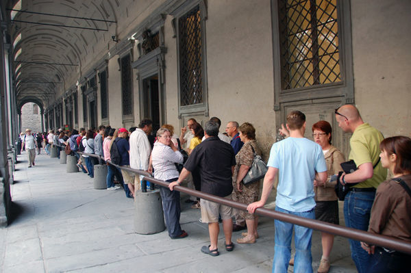 Lining up for Uffizi Gallery tickets, Florence, Italy