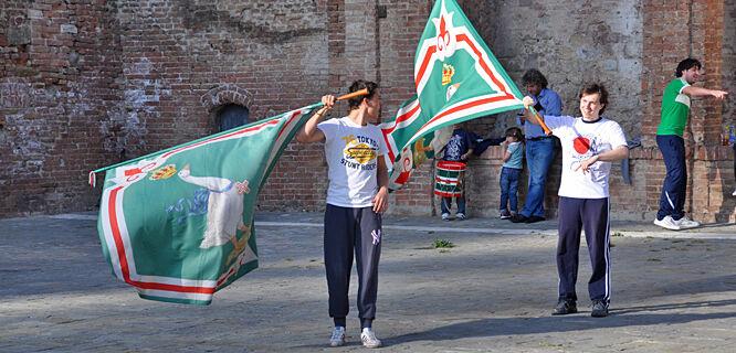 Contrada flags, Siena, Italy